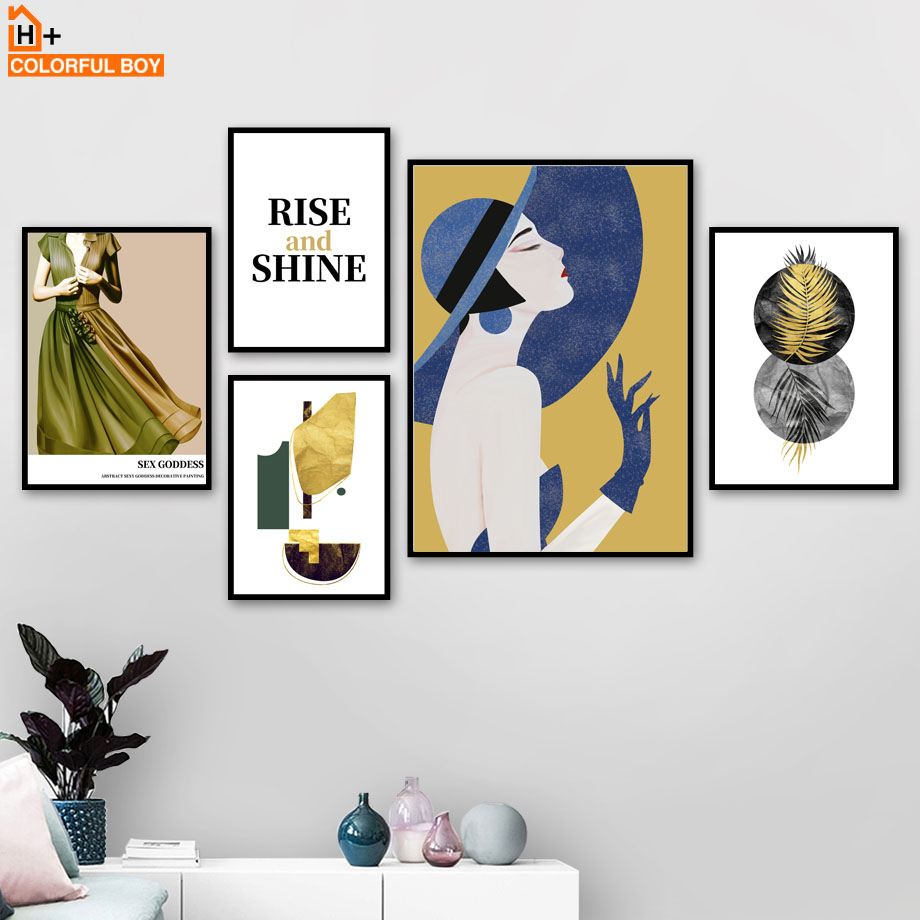 Blue Hat Girl Palm Leaf Abstract Painting Nordic Posters And Prints Wall Art Canvas Print Pictures For Living Room