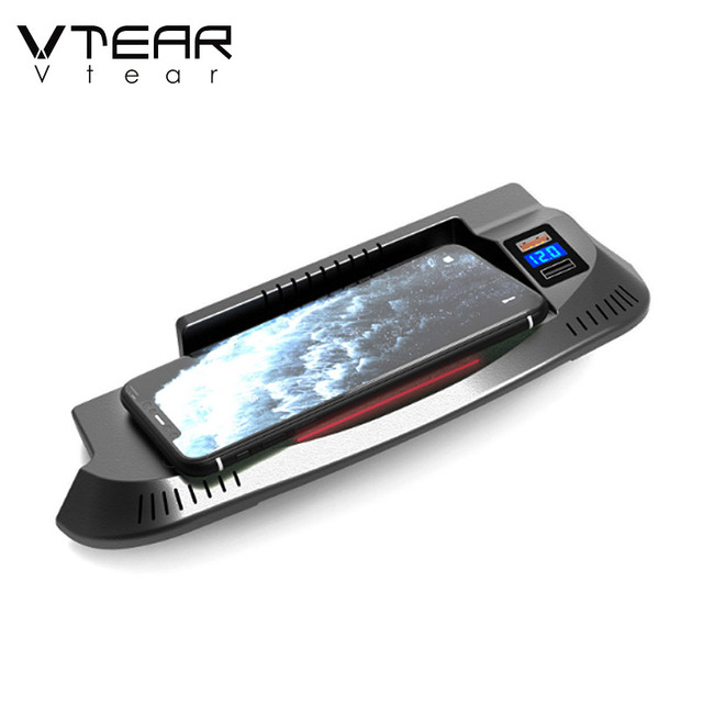 Vtear Car QI Wireless Charger For Ford Mustang Accessories 2016-2021 Interior Modification 15W Fast Phone Charging Plate 5