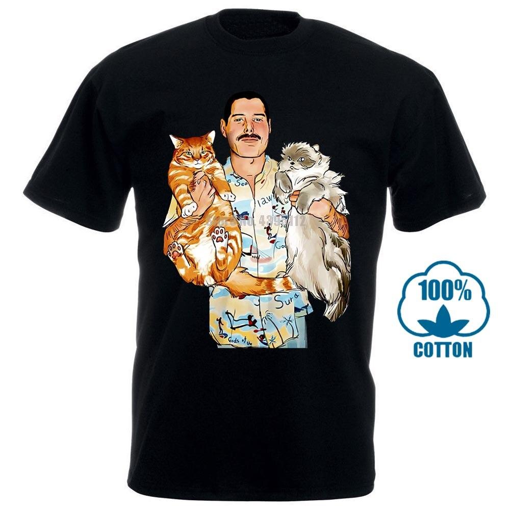 Freddie Mercury Hug Cats Cute Rock Band Queen Black T Shirt Men'S Size M L Xl