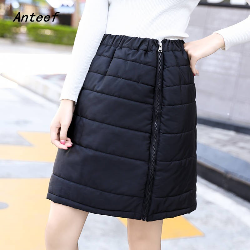 Black Down Cotton Plus Size Vintage 2019 High Waist Clothes Autumn Winter Casual Mini Short Skirts Womens Skirt Women Streetwear