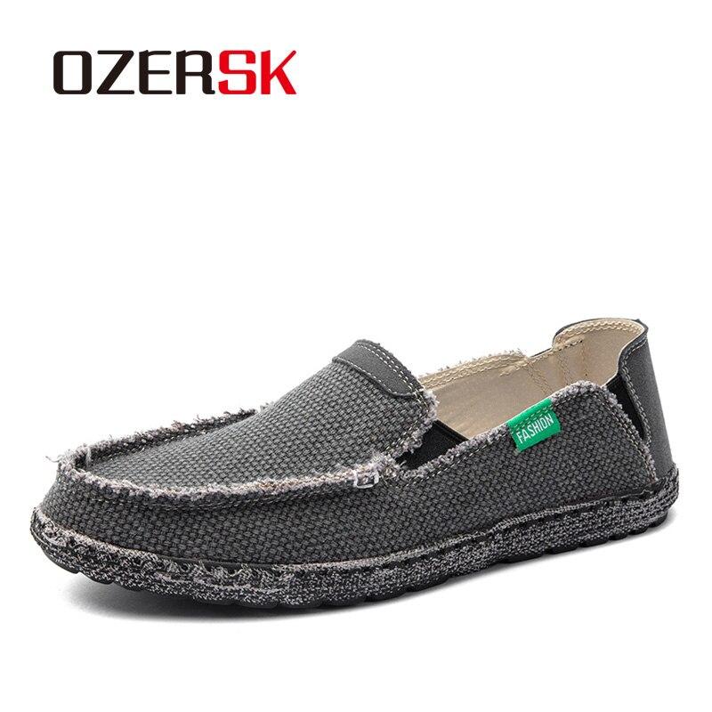 Ozersk sapatos casuais masculinos estilo britânico mocassins lona apartamentos zapatos hombre mocassins calçado respirável sapatos de condução