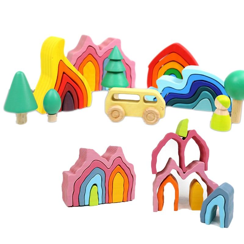 Bricolage assemblé blocs de construction Montessori en bois arc-en-ciel blocs jouet bois empilé jeu d'équilibre enfants jouets éducatifs cadeaux