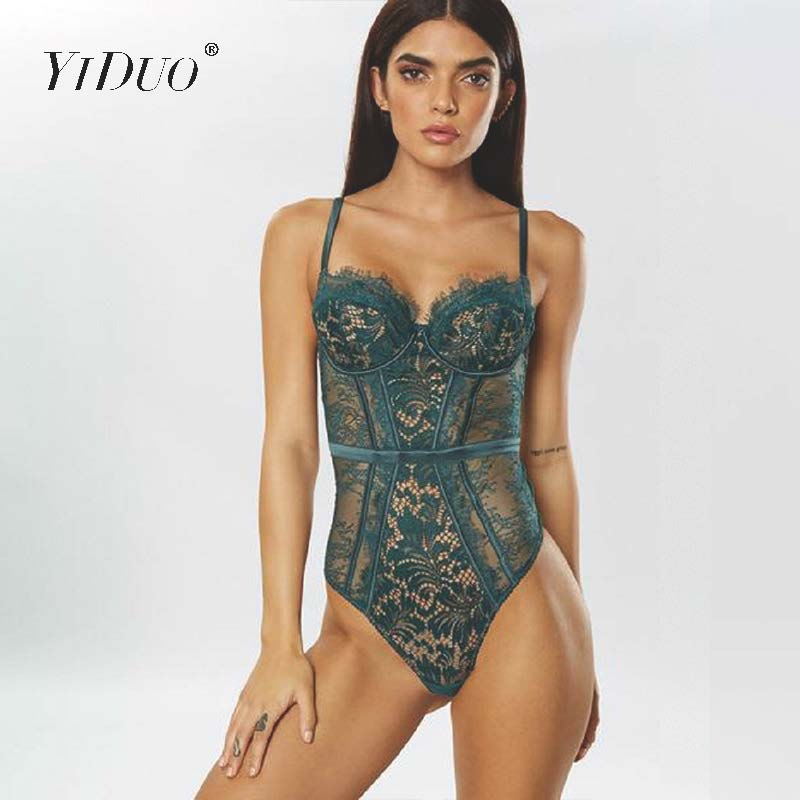 YiDuo Green Black Hollow Out Spaghetti Strap Floral Crochet Sexy Bodysuits See Through Mesh Lace Bodysuit Women Bodycon Jumpsuit
