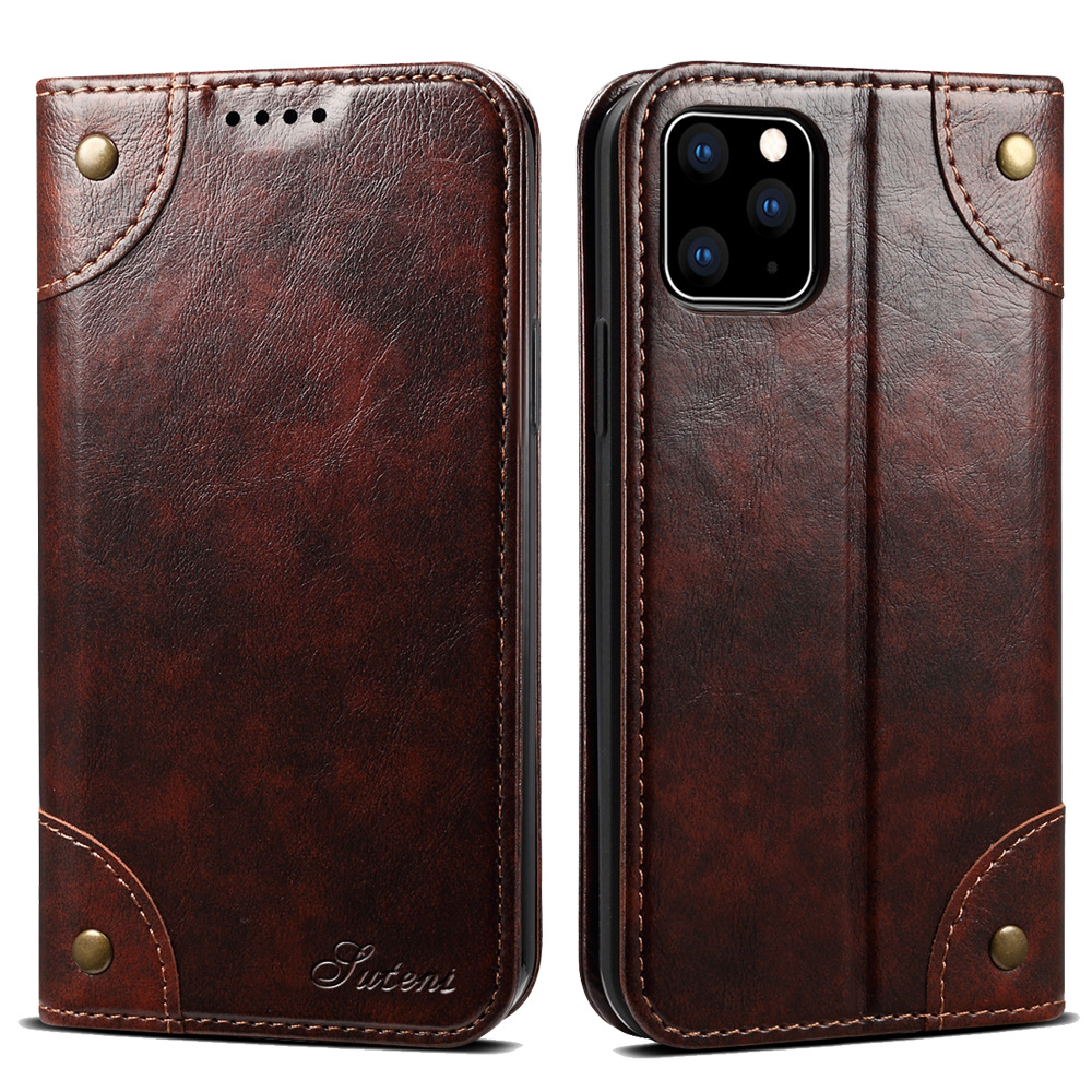 Classic Wallet Flip Genuine Leather Case For Iphone 11 12 Pro 11Pro X XS Max XR 6S 7 8 Plus Magnetic Book Flip Phone Case Cover