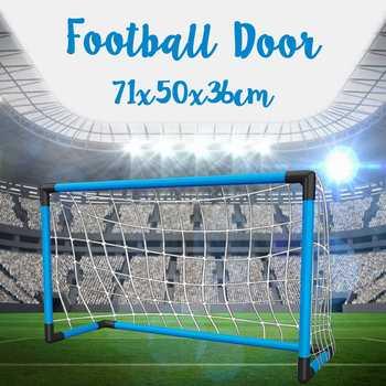Składane dzieci piłka nożna netto drzwi piłka nożna brama siatka piłka nożna strzelanie pomoc sprzęt treningowy Inflator piłka nożna zabawki sportowe tanie i dobre opinie LBLA CN (pochodzenie) Z tworzywa sztucznego F02464 Chwytając ruch zdolność rozwoju 3 lat Football Door Unisex Blue