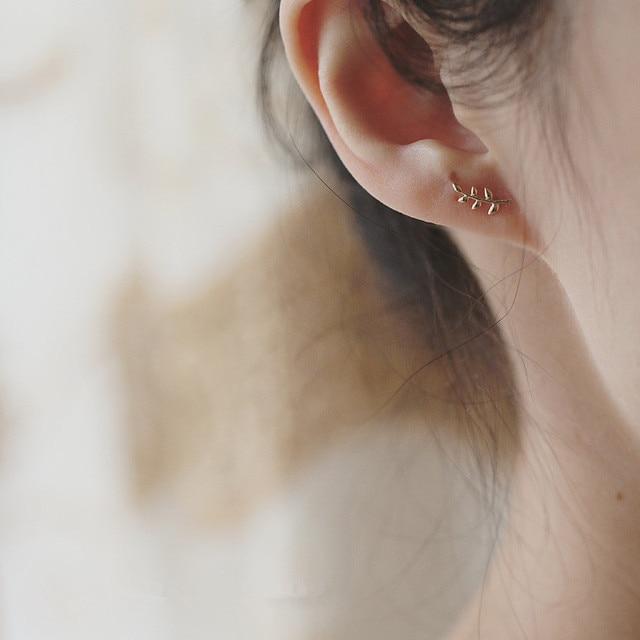 dainty European Style 14k gold or sterling Olive Branch Leaf Earrings  3