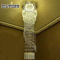 Modern Large Crystal Chandelier Lighting for Hotel Hallway Stairwell Long Stair Light led Hanging Living Room Lamp