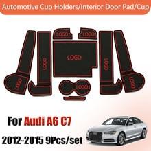 Door groove mat Anti-Slip Gate Slot Mats For Audi A6 C7 2012 - 2015 RS6 S6 Accessories Interior Door Pad Car Cup Holders