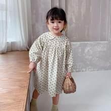 Vestido Floral de manga larga para niñas, ropa de princesa a la moda, trajes informales para bebés, primavera 2021
