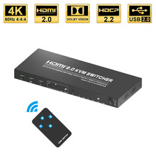2020 הטוב ביותר 4K @ 60Hz 4 יציאת HDMI KVM מתג 4K USB HDMI KVM Switcher 2 יציאת מתג KVM USB RGB 4:4:4 HDMI USB המחשב הנייד למחשב(China)