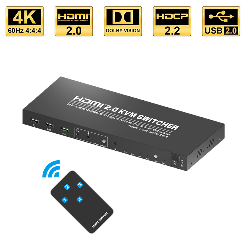 2020 Best 4K@60Hz <font><b>4</b></font> Port HDMI KVM Switch 4K USB HDMI KVM Switcher 2 Port KVM Switch USB RGB <font><b>4</b></font>:<font><b>4</b></font>:<font><b>4</b></font> HDMI USB Switch for PC laptop image