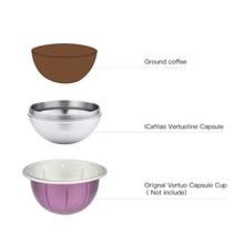 ICafilas – capsules de café réutilisables Vertuo en acier inoxydable, pour Nespresso VertuoLine Plus Machine & Delonghi ENV 135/ Next
