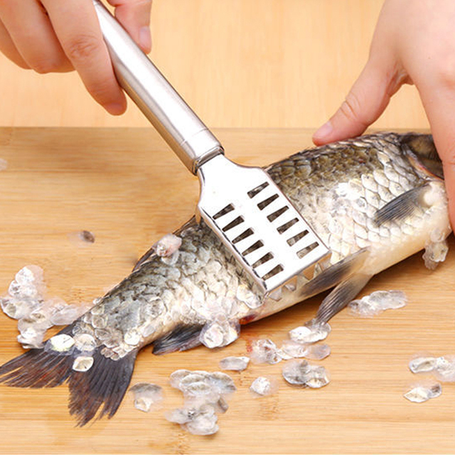 Multifunctional Fish Skin Scale Remover Brush Shaver Stainless Steel Fish Descaler Skinner Scaler Fishing Cleaning Kitchen Tools