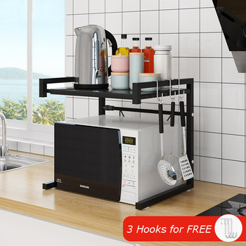 Organizer Kitchen Microwave Oven Shelf Metal Multi Function Stand Two Layers Dish Space Saving Rack Kitchen Storage Rack