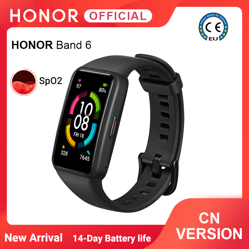 """Presell New Arrival Honor Band 6 1.47"""" AMOLED Screen Blood Oxygen Heart Rate Tracker 14 Days Battery Life Bluetooth 5.0 Smart Wristbands  - AliExpress"""