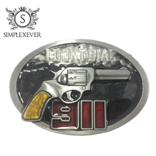 Retro I Don't Dial 911 Gun Belt Buckle Western Jeans Gift with Silver Plating Men's As Gifts