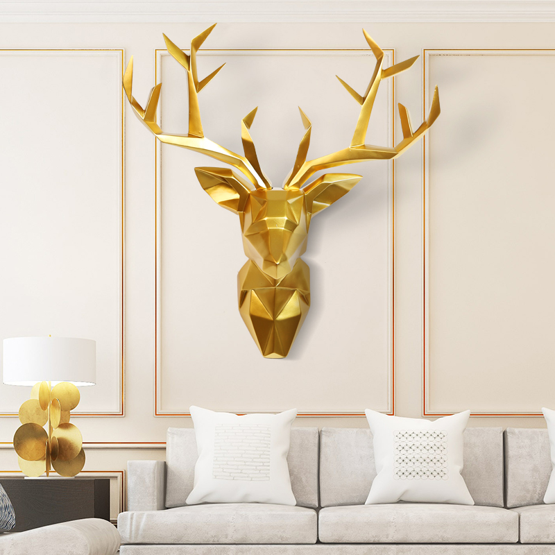 3D Large Deer Head Statue Home Decoration 52x56x22cm Wall Decor Animal Wildlife Sculpture Figurines Crafts Abstract Sculptures