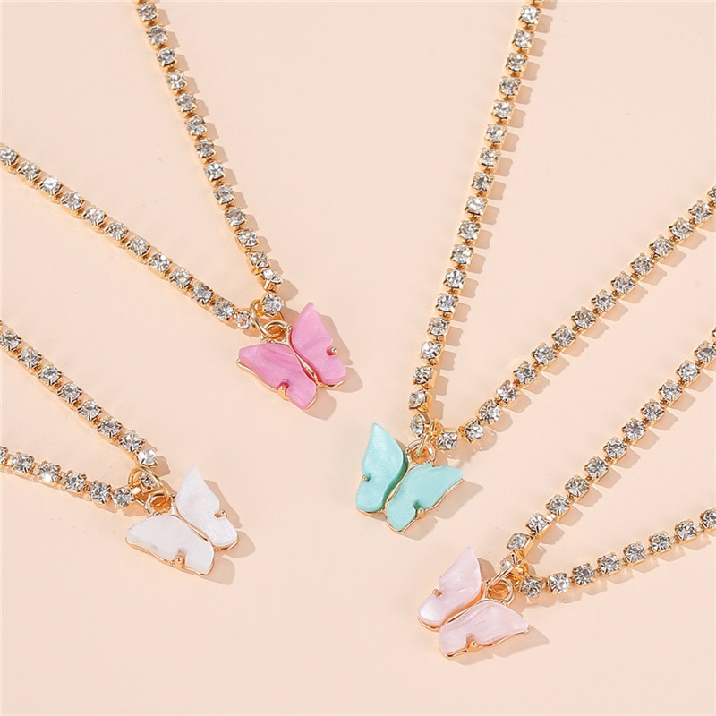 LETAPI Statement Big Butterfly Pendant Necklace Rhinestone Chain for Women Bling Tennis...