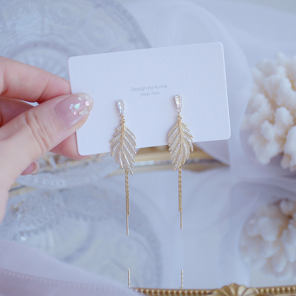 Exquisite Design Gold Leaf Tassel Stud Earring for Women 14k Real Gold Micro Pave Zircon Earring Bohemia Jewelry Accessories