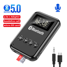 Bluetooth 5.0 Receiver Transmitter LCD Wireless Adapter 3.5MM Jack AUX FM Car Kit Handsfree Call & Mic For PC TV Car Speaker