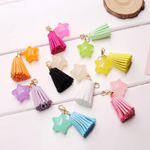 2019 Tassel star Keychain Women Handbags Car Fashion Metal Keyrings children GiftCandy color Five Pointed Star Shaped Key chain(China)