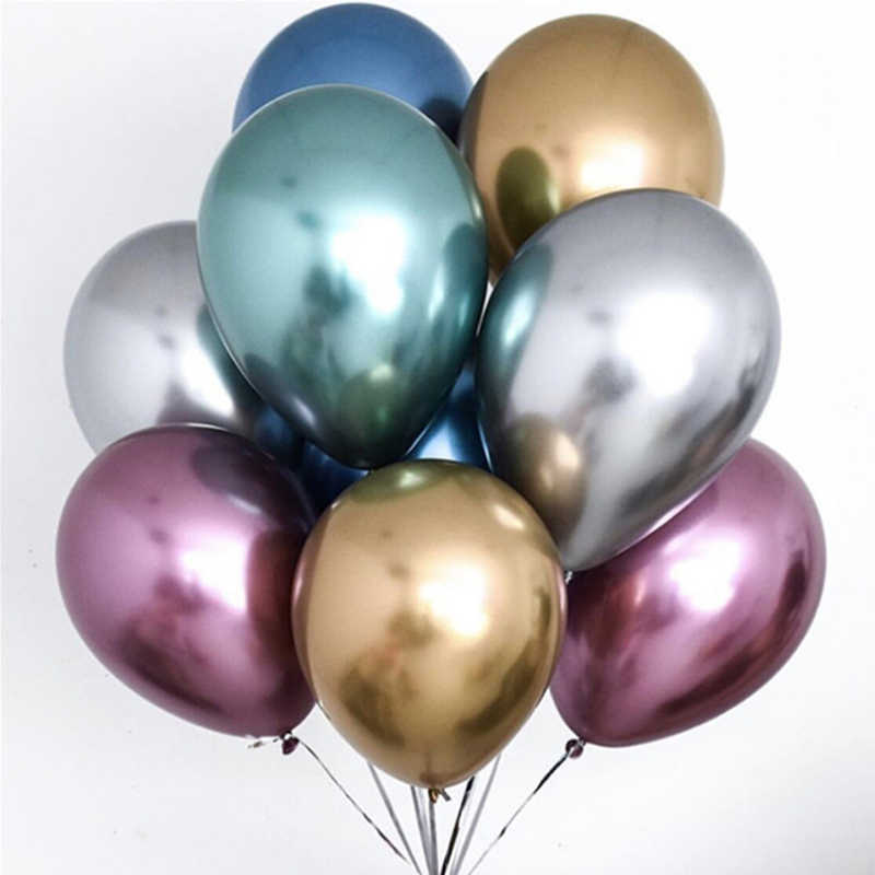 30/50/100 Pcs 12 Inch Glossy Logam Mutiara Balon Lateks Tebal Chrome Warna Metalik Helium Bola Udara dekorasi Pesta Ulang Tahun