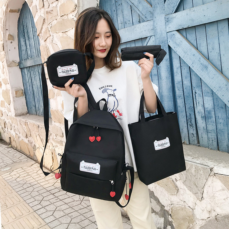 Atinfor Brand Anti Theft Canvas School Bags For Teenage Girls Fashion Multifunctional Bag Set Schoolbag Backpack Set