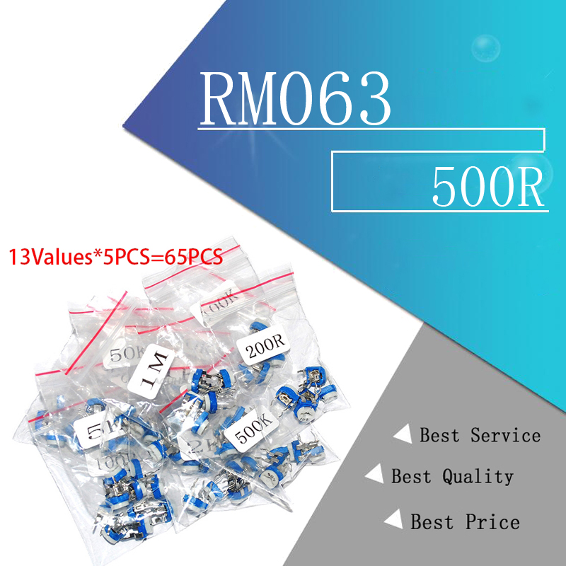 65PCS RM063 Trimmer Potentiometer Adjustable Resistor Kit 500R 1K 5K 10K 20K 50K 100K 200K 500K 1M RM-063 Variable Resistors