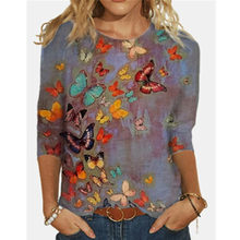 3/4 Sleeve Butterfly Print Tshirt Tops Women Spring Summer Casual Cotton Shirt Boho Loose Plus Size Female Tee Clothes