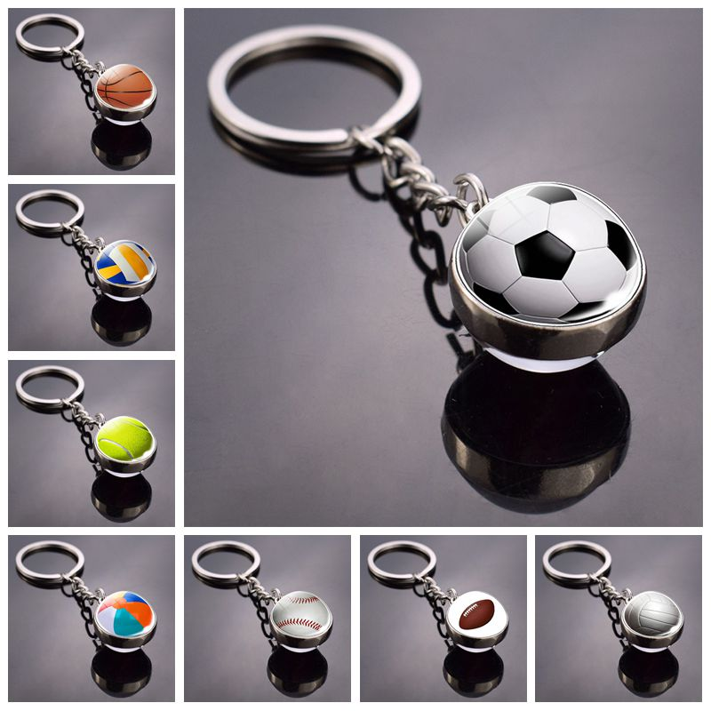 Fashion Glass Ball Keychain Football Basketball Baseball Volleyball Tennis Rugby Softball Picture Glass Pendant Metal Keyring