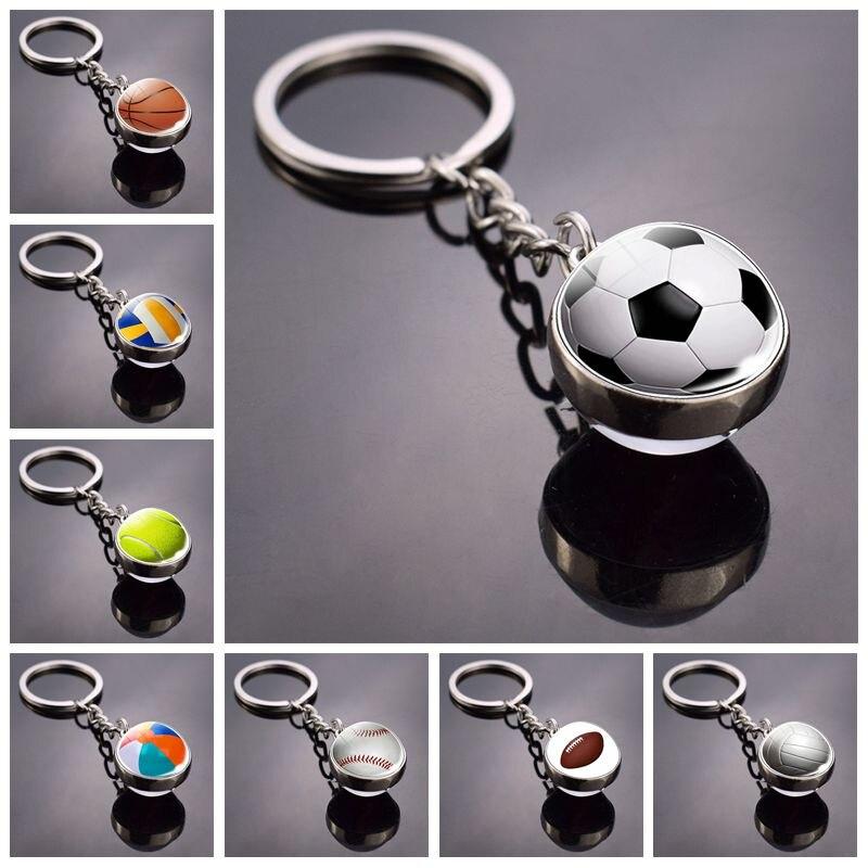 Fashion Glass Ball Keychain Football Basketball Baseball Volleyball Tennis Rugby Softball Picture Pendant Metal Keyring