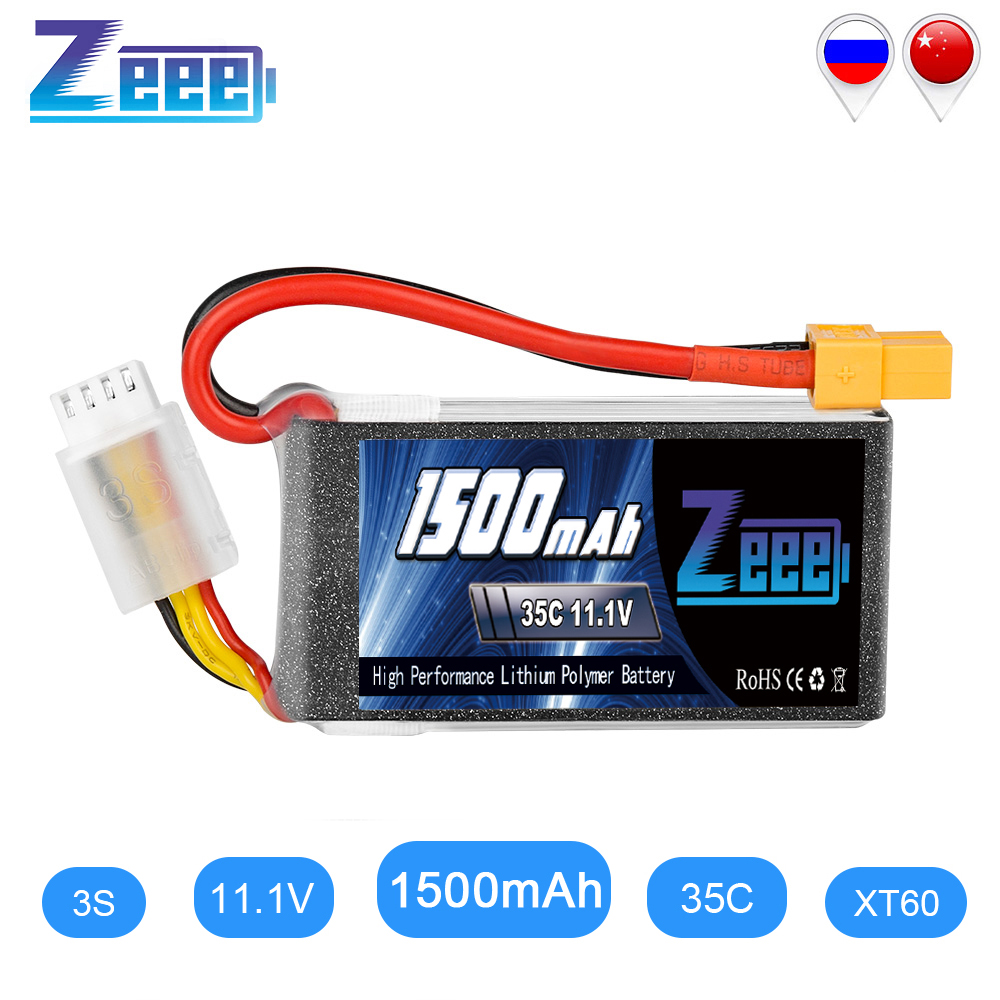 Zeee 11.1V <font><b>1500mAh</b></font> 35C <font><b>3S</b></font> <font><b>Lipo</b></font> Battery with XT60 Plug Softcase RC Battery Charger for RC Quad Drone RC Car Truck Airplane FPV image
