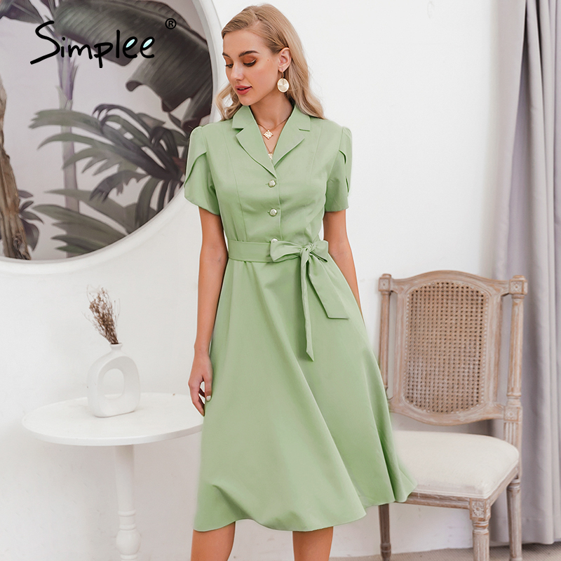 Simplee Streetwear Ruffled Women Dress Solid Lapel Single Breasted Belt Summer Dress Casual Short Sleeve Straight Office Dress