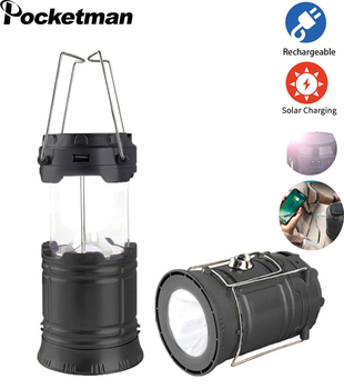 Camping Lamp Rechargeable Emergency Lantern Outdoor Portable Tent Light Solar Power Collapsible Lamp Flashlight Power Bank 2016 new fashion led solar power light outdoor camping tent lantern hiking lamp portable light solar lantern light with fm radio