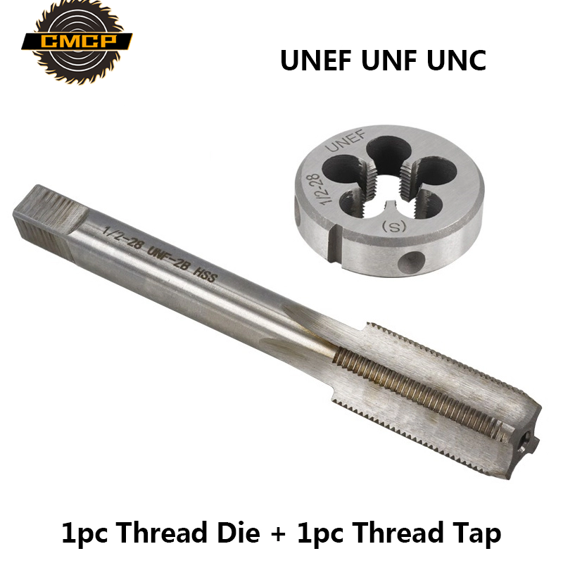 CMCP 2pcs UNEF UNF UNC Thread Tap And Die Set For Metal Working HSS Machine Hand Tap Drill Bit  Imperial Tap And Die Screw Tap