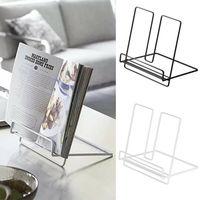 Portable Bookcase Desktop Shelf For Tablet PC Books Desk Bookshelf Storage Organizer Iron Solid Color Rack For Office And Home