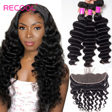 Recool Loose Deep Wave Bundles With Frontal Closure Hd Transparent Lace Frontal Remy Hair 3 Bundle Deals With Frontal