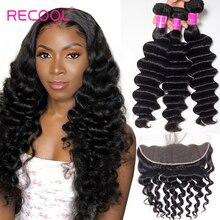 Recool Loose עמוק גל חבילות עם פרונטאלית סגירת Hd שקוף תחרה פרונטאלית רמי ברזילאי שיער טבעי 3 חבילות עם פרונטאלית