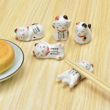 Lucky Cat Chopsticks Holder Japanese Ceramic Chopsticks Care Ceramic Lucky Cat Home Hotel Ceramics Cute New Arrival