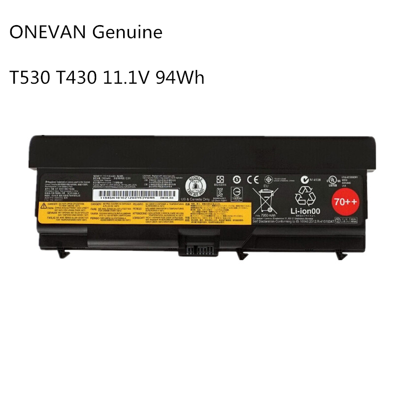 ONEVAN Genuine 94Wh Laptop <font><b>Battery</b></font> For <font><b>Lenovo</b></font> ThinkPad T430 T430I <font><b>L430</b></font> SL430 SL530 T530 T530I L530 W530 45N1011 45N1010 9Cell image