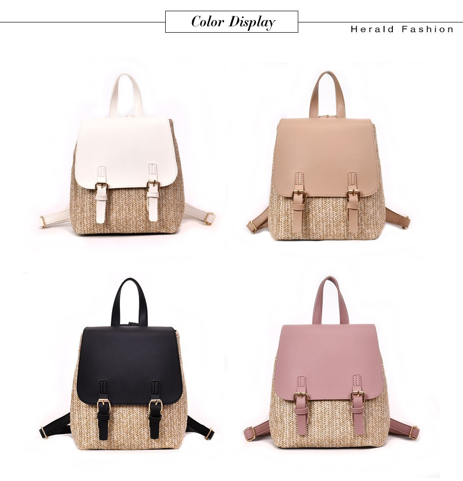 H8acfeeb9228746df9d66baa742b8e39f1 Herald Fashion Straw Woven Backpack Women Back Pack Autumn Teenage Girl Quality Backpacks Travel Bags Kawaii Rucksack Drop Ship