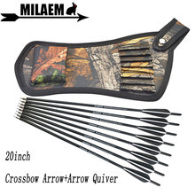 6/12pcs 20inch Archery Crossbow Bolts Arrow Carbon With Quiver Bag 4inch Vanes OD8.8mm Hunting Shooting Accessories