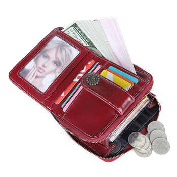 GROJITOO 2020 New genuine leather female wallet female short student multifunctional mini coin purse driving license wallet