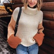 Korean Pullover Sweaters Jumper Women Simplee Patchwork Turtleneck Streetwear Knitted