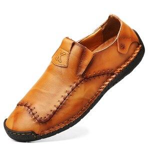 Image 4 - Nowe miękkie PU skórzane buty męskie szycia ręcznego męskie buty na co dzień Trend skórzane buty męskie miękkie dno buty outdoorowe Plus rozmiar 48