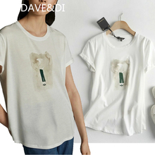 DAVE&DI england style office lady simple print o-neck summer t shirt
