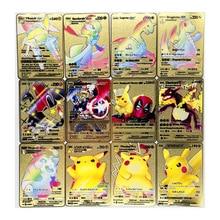 Pokemon novo charizard pikachu gx mega ouro metal cartão super jogo coleção anime cartões brinquedos para crianças presente de natal