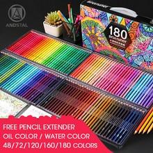 Andstal 48/72/120/160/180 profissional óleo cor lápis conjunto aquarela desenho lápis colorido cor de madeira lápis colorido crianças