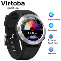 Virtoba M4 Smart Watch Men Compass GPS Smartwatch Multi language IP67 Waterproof Heart Rate Monitor Clock Call Message Reminder