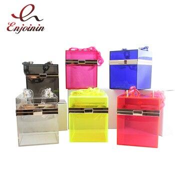 цена на Fashion Transparent Design Women Party Purses and Handbags Wedding Cocktail Tote Bag Acrylic Square Box Bag Shoulder Bag  Bolsa